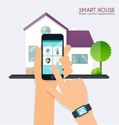 Smart house Home control application concept Hand vector image vector image