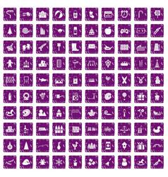 100 preschool education icons set grunge purple vector