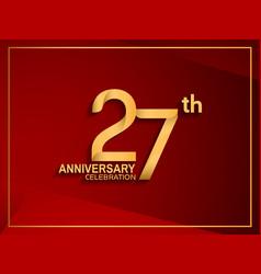 27 anniversary celebration logotype golden color vector
