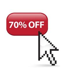 70 Off Button Click vector image