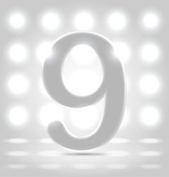 9 over back lit background vector image