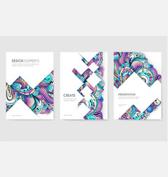 abstract brochure cards set music art vector image