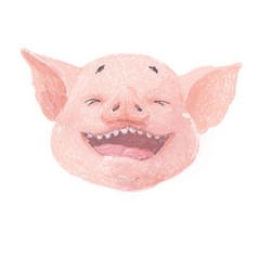 adorable pig character laughs cute little piglet vector image