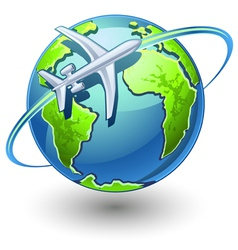 Airplane flying earth vector