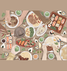 asian oriental food japanese lunch china meal vector image