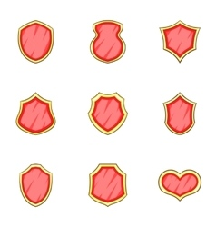 Badge or shield icons set cartoon style vector