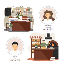 bakery shop workers man and woman baking bread vector image