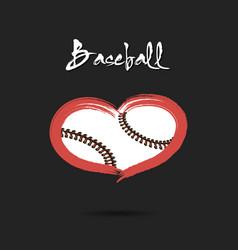 Baseball ball shaped as a heart vector