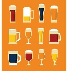 big set beer glasses and bottles vector image