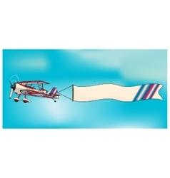 Biplane aircraft pulling advertisement banner vector