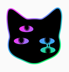 black cat head with magic colorful eyes vector image