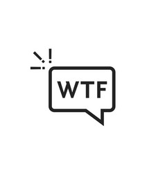 Black outline wtf icon in speech bubble vector