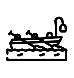 Boat pirate line icon vector