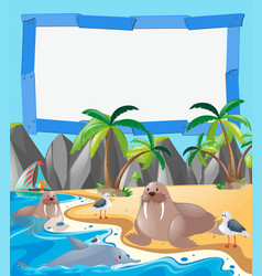Border template with sea animals on the beach vector