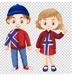 Boy and girl wearing norway shirt design vector