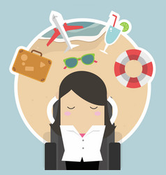 businesswoman sleep and dreaming about vacation vector image