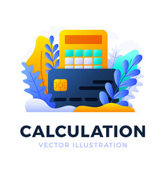 calculator and credit card stock isolated on a vector image