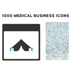 Camping calendar page icon with 1000 medical vector