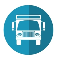 Cargo truck commercial business blue circle vector