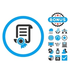 Certified Scroll Document Flat Icon with vector image