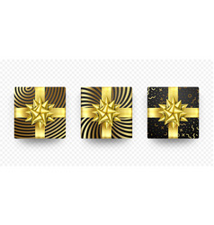 christmas gift box present golden ribbon bow vector image
