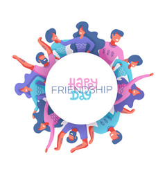 Circle friends avatars different genders vector