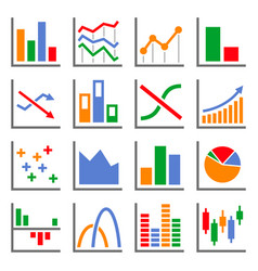 color diagram and graphs related icons set vector image