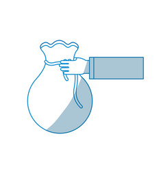 contour bag money in the hand person vector image