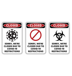 covid19-19 closed sign set vector image