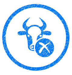 Cow reject rounded grainy icon vector