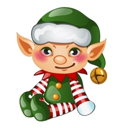 Cute boy elf in green costume isolated character vector image