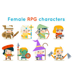 Cute female rpg characters fantasy game isolated vector