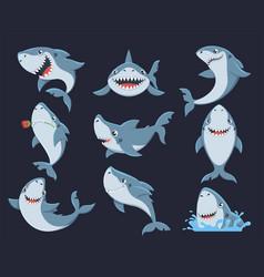 Cute funny shark flat set vector