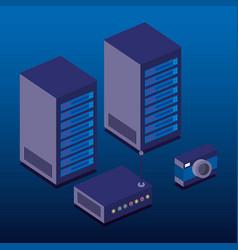 Data center technology isometric icons vector