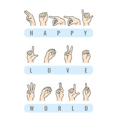 deaf-mute alphabet with hand gestures set vector image
