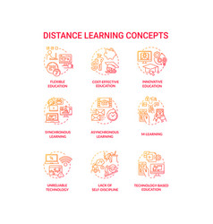 Distance learning concept icons set vector