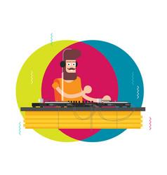 dj character music musical entertainment flat vector image