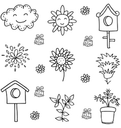 Doodle of spring flower cloud vector image