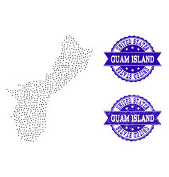 Dotted map of guam island and textured seal vector