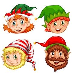 Four characters of Christmas elves vector