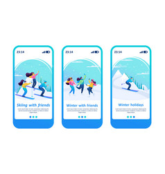 friends have a great time winter ice skating vector image