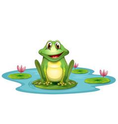 frog lake cartoon vector image