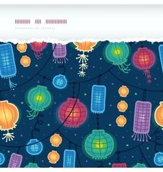 Glowing lanterns horizontal torn seamless pattern vector