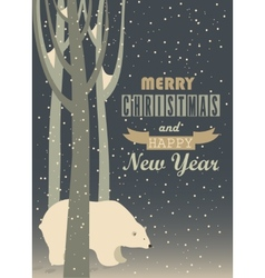 Greeting card polar bear in the forest vector