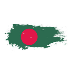 Grunge brush stroke with bangladesh national flag vector