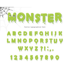 Halloween cute monster font for kids jelly slim vector