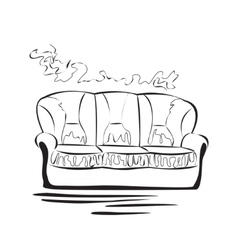 Hand drawn sketch sofa card vector