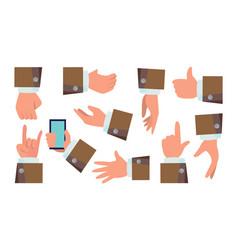 hands gestures set businessman hands vector image