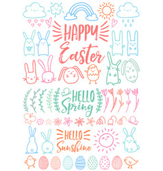 happy easter set doodles vector image