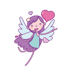 happy valentines day cute cupid with arrow heart vector image